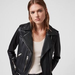 All Saints Balfern Leather Biker Jacket US00 UK2